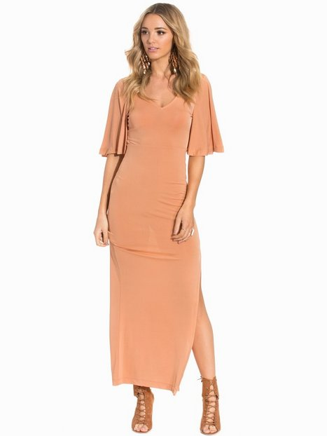 Billede af First And I Fitoy Flounce S/S Dress Maxikjole Brun