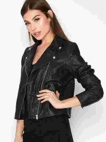 4d5862d080 Slfmarlen Leather Jacket Noos B - Selected Femme - Black - Jackets ...