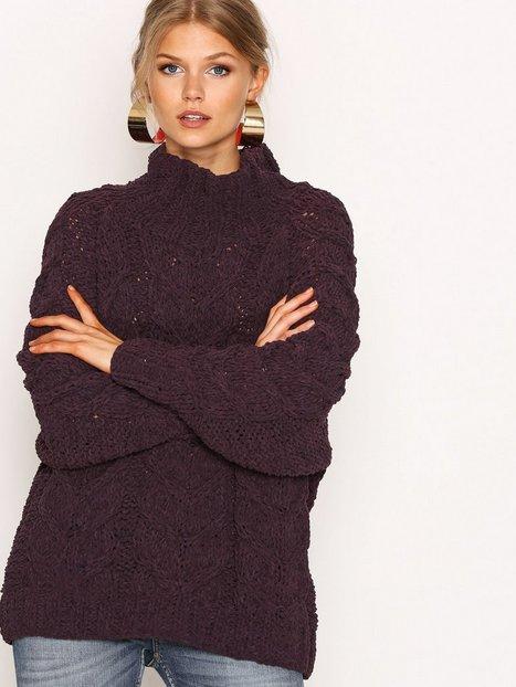 Billede af Selected Femme Sfblair Ls Highneck Knit Strikket trøje Mørke Lilla