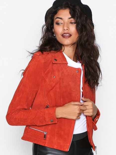 Vero Moda Vmroyce Short Suede Jacket Col Læderjakker Spicy Orange