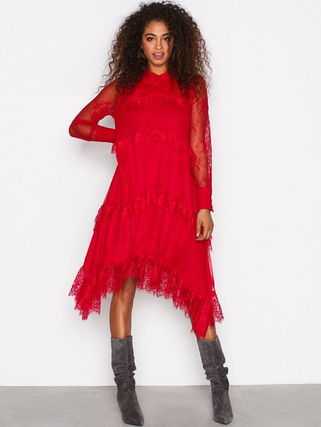 Billede af Y.A.S Yascille Ls Lace Dress Maxikjole Mørkerød
