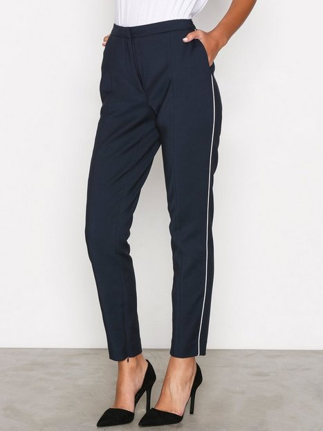 Selected Femme Sfmuse Piping Mw Cropped Pant - Dar Byxor Mörk Blå thumbnail