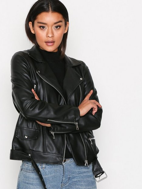 Vero Moda Vmjuhuu Short Faux Leather Jacket Skinnjackor Svart thumbnail