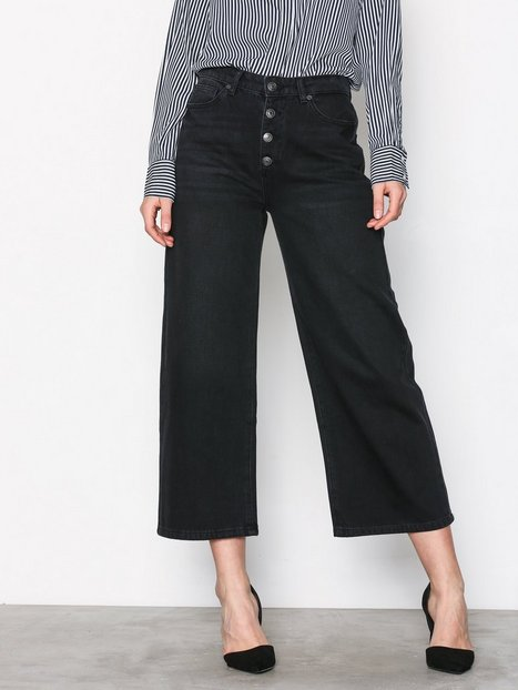 Selected Femme Sfgene Hw Cropped Wide Jeans Black Byxor Svart thumbnail