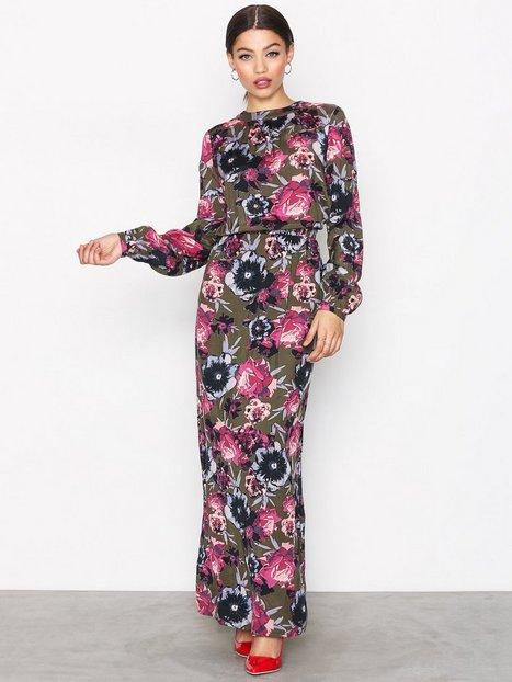 Vila Viastha L/S Maxi Dress Maxiklänningar Mörk Grön thumbnail