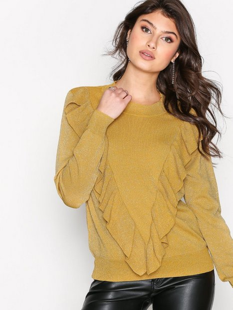 Selected Femme Sfagnes Ls Knit O-Neck Rt Stickade tröjor Mörk Gul thumbnail