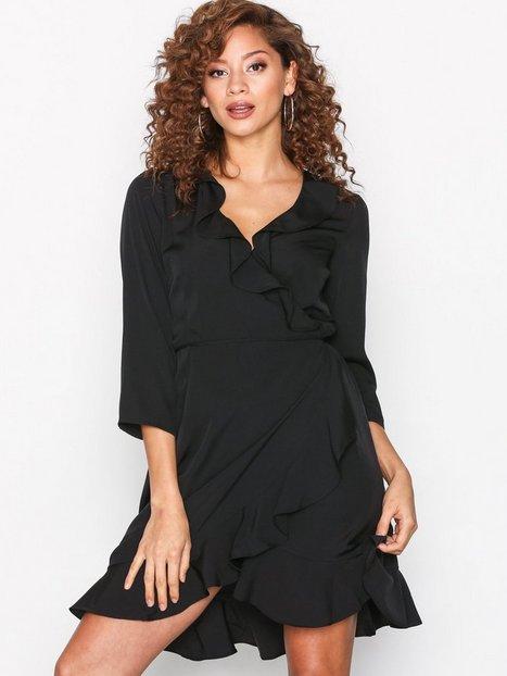Billede af Vero Moda Vmhenna 3/4 Wrap Dress Noos Langærmet kjole Sort/sort