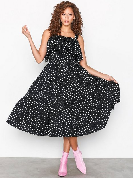 VMLOKA DOT COLD SHOULDER CALF DRESS