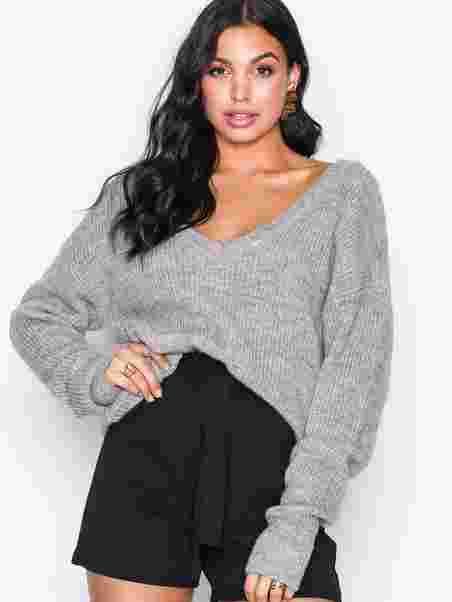 1aad4f654fcb Shoppa Vmelly L/S Deep V - Neck Knit Ga - Online Hos Nelly.com