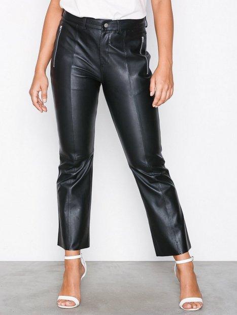 Billede af Selected Femme Slfmia Mw Cropped Leather Pant W Skind Sort