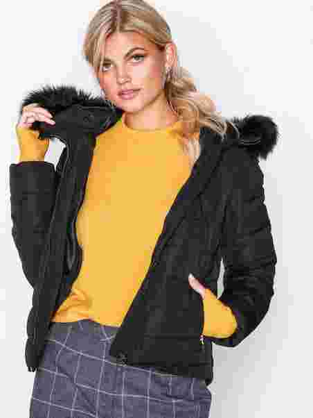 d0fb4c284ebecb Onlnew Ellan Quilted Fur Hood Jacke - Only - Black - Jackets ...