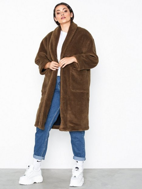 American Vintage Manteau Ml Col Chale Faux Fur Grøn
