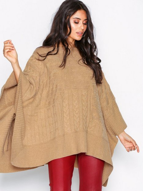 Polo Ralph Lauren Cable Elbow Sleeve Poncho Strikkede trøjer Brown