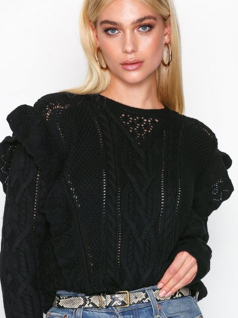 Polo Ralph Lauren Ls Rffle Po-Long Sleeve-Sweater Strikkede trøjer Black