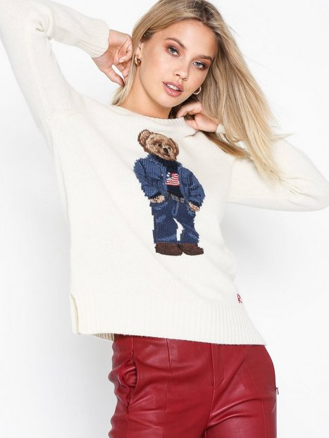 Polo Ralph Lauren Denim Bear-Long Sleeve-Sweater Strikkede trøjer Natural