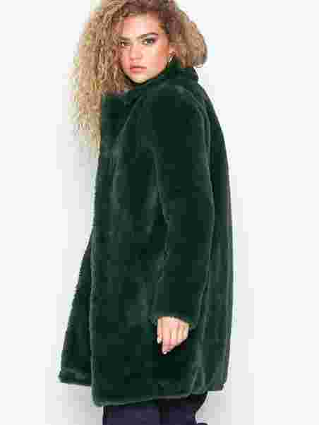 e372d776d00 Visofta Faux Fur Coat/Pb - Vila - Dark Green - Jackets - Clothing ...