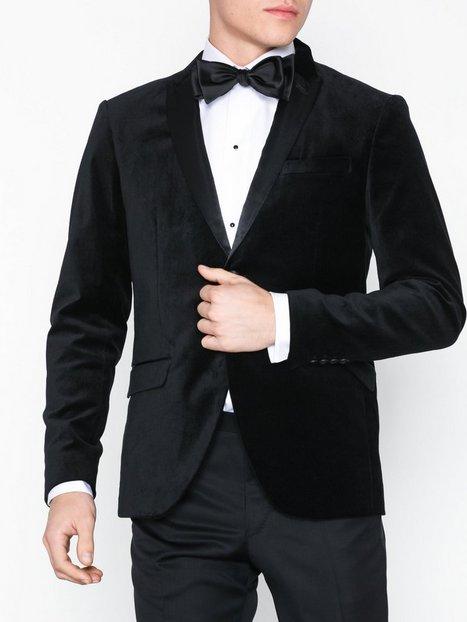 Selected Homme Slhslim Velour Blazer B Blazere jakkesæt Sort mand køb billigt