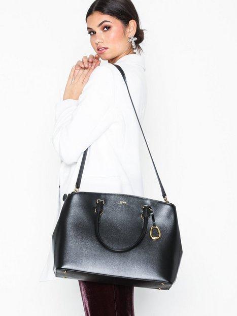 Lauren Ralph Lauren Dbl Zip Satchel Large Håndtaske Black