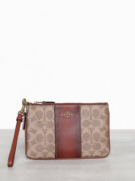 Coach Colorblock coated canvas signature small wristlet Kuvertväskor Tan