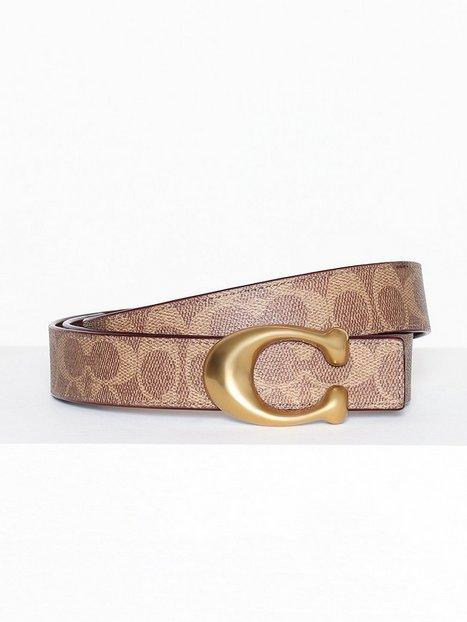 Billede af Coach 32mm sculpted c coated canvas reversible signature belt Bælter & Bindebånd Brun
