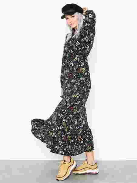 a6f0b8fe3207 Onlrachel Ls Maxi Dress Wvn - Only - Sort - Kjoler - Tøj - Kvinde ...
