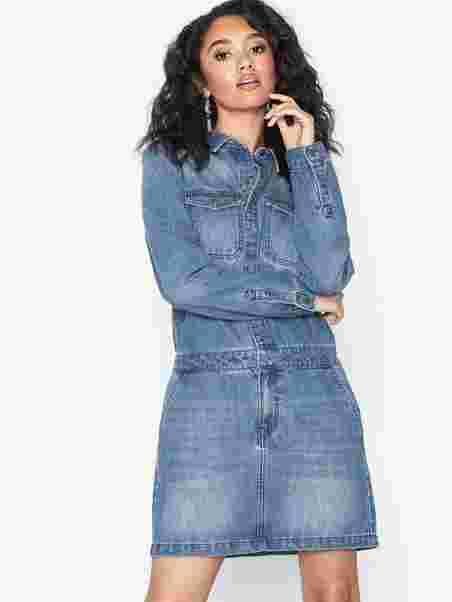 976184ebfa5019 Vmjenna Ls Worker Dress - Vero Moda - Blue - Dresses - Clothing ...