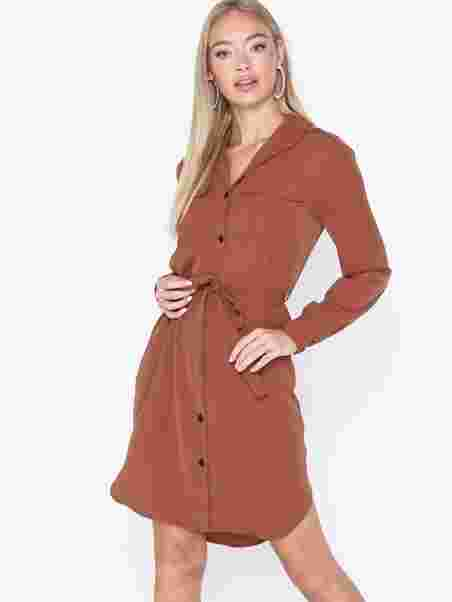 9719c0d3ee Vmselina L S Short Shirt Dress Ki - Vero Moda - Brown - Dresses ...