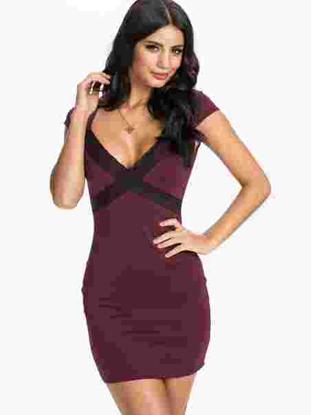 Lace Trim Bodycon - Nly One - Burgundy - Party Dresses - Clothing ... 595982597