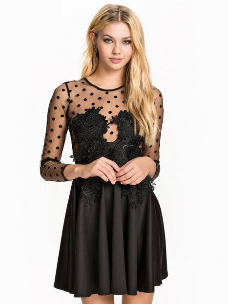 Dotted Rose Skater - Nly One - Schwarz - Partykleider - Kleidung ...