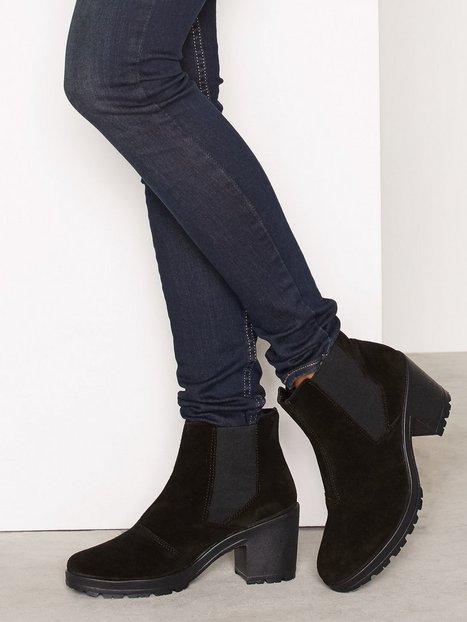 Billede af Bianco Low Cut Suede Chelsea Boot Heel Sort