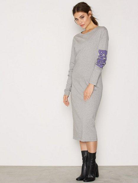 Billede af BACK LS T-Shirt Dress Print Maxikjole Grey Melange