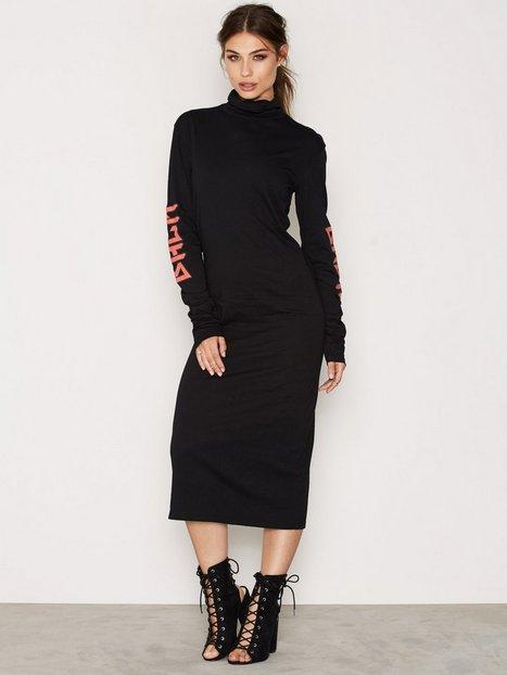 Billede af BACK LS Polo Dress Print Maxikjole Black
