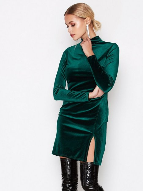 NLY One Thigh Slit Velvet Dress Kotelomekot Vihreä thumbnail