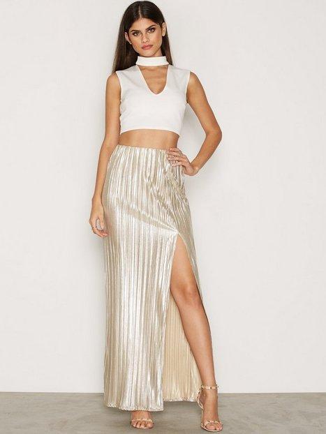 Billede af NLY One Pleated Foil Maxi Skirt Maxinederdele Guld
