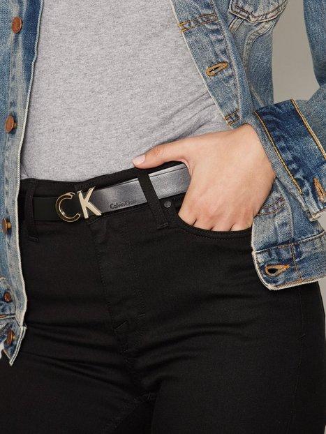 Billede af Calvin Klein CK Slim Metallic Belt Bælter & Bindebånd Black