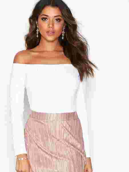 a5f0883711 Off Shoulder Rib Body - Nly One - White - Tops - Clothing - Women ...