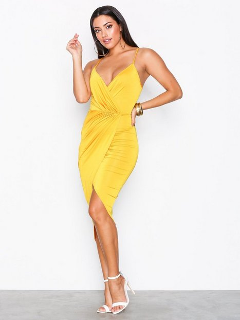 Wrap Ruched Dress - Nly One - Yellow - Partykleider - Kleidung ...