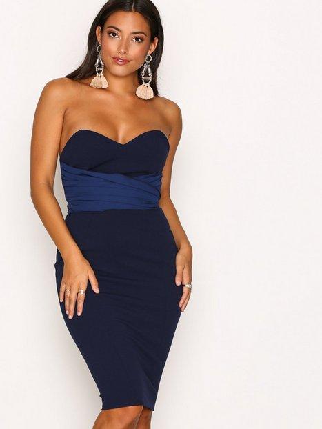 Billede af NLY One Bandeau Tie Dress Kropsnære kjoler Mørkeblå