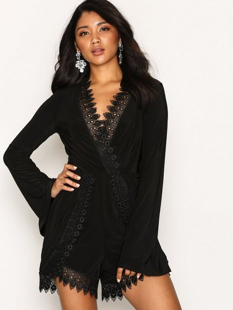 Billede af NLY One Lace Edge Playsuit Playsuits Sort