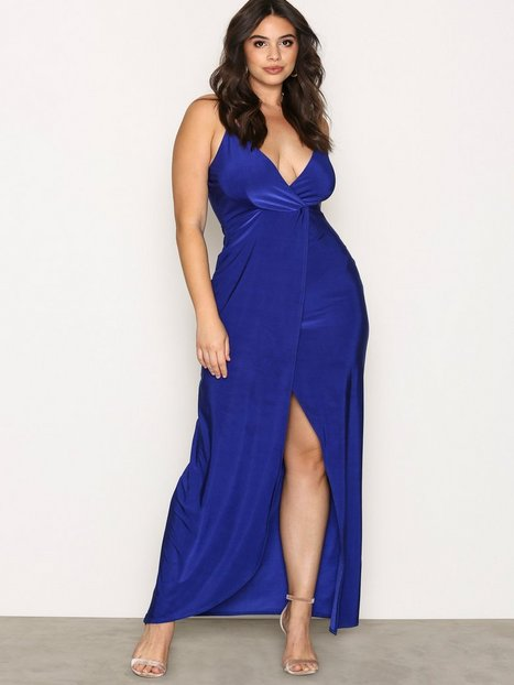 NLY One Low Plunge Maxi Dress Maxiklänningar Cobalt Blue thumbnail