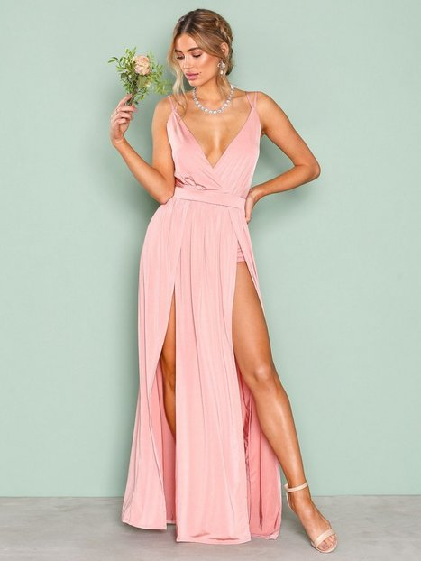 Double Slit Maxi Dress - Nly One - Rose - Partykleider - Kleidung ...