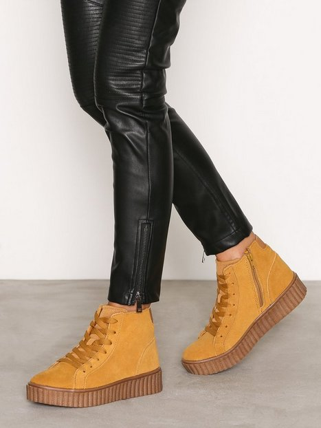 Billede af Bianco Laced Up Suede Boot High Top Mustard