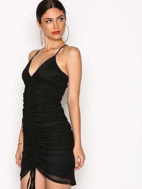 NLY One Drawstring Mesh Dress Kotelomekot Musta thumbnail