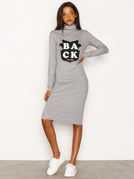 Billede af BACK Print LS Dress Langærmet kjole Grey Melange