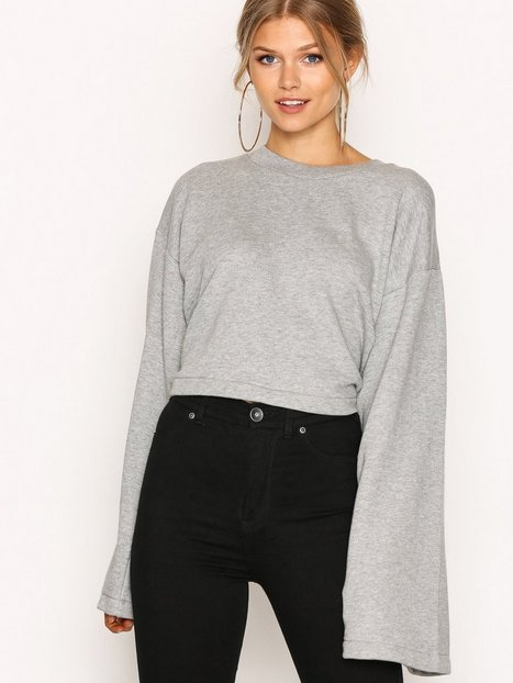 Billede af T By Alexander Wang Tie-Back L/S Crop Sweatshirt Sweatshirts Heather Grey
