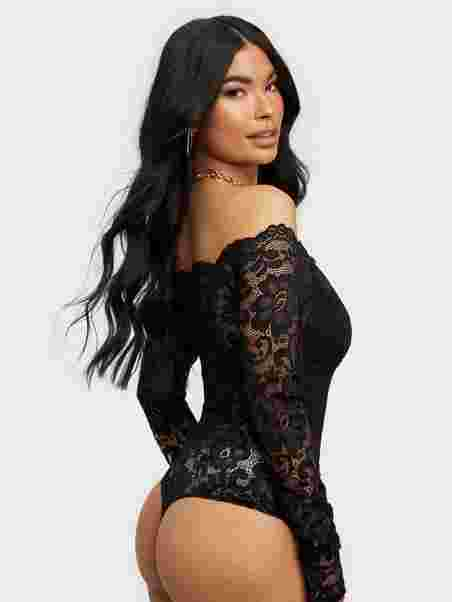 45dec157e74 Off Shoulder Lace Body - Nly One - Black - Tops - Clothing - Women ...