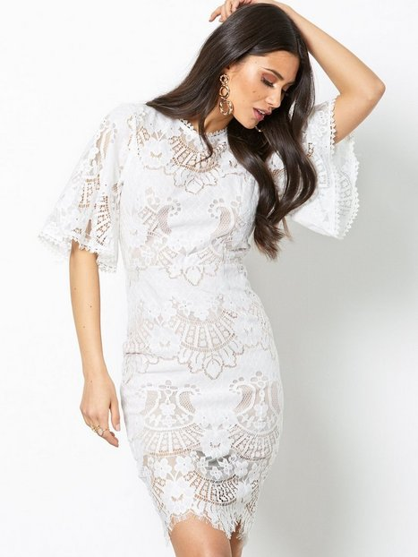 Billede af Love Triangle All Over Lace Open Back Mini Dress Kropsnære kjoler Hvid