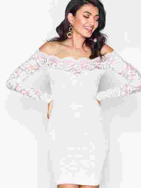 Lace Off Shoulder Dress - Nly One - Valkoinen - Juhlamekot ... 624a698182