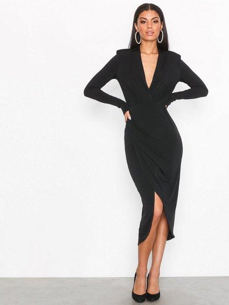 NLY One Wrap Plunge Dress Kotelomekot Musta thumbnail