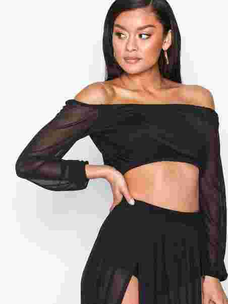 6d373a44709 Mesh Off Shoulder Top - Nly One - Black - Tops - Clothing - Women ...